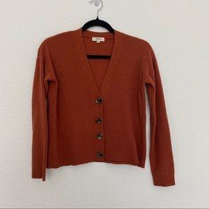 Anthropologie Peyton Primrose Brown V Neck Knit Cardigan w Buttons Size M